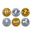 digital cryptocurrency set icons bitcoin vector image vector image