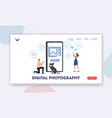 digital photography landing page template man vector image