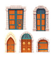 doors set wooden and stone medieval entries vector image
