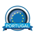 EU flag button with Portugal ribbon vector image vector image