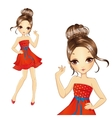 Fashion Brunette Girl In Retro Red Dress vector image