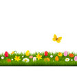flower border with butterfly vector image vector image