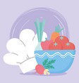 food fresh tomatoes carrot onion mushroom and chef vector image vector image
