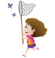 girl catching butterflies with net vector image vector image