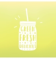Green fresh delicious Mason jar with hand drawn vector image vector image