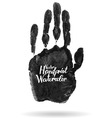 Hand drawn isolated black watercolor hand print vector image