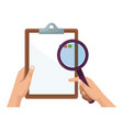 hand holding clipboard and magnifier ckecklist vector image