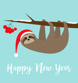 happy new year sloth hanging on rowan rowanberry vector image vector image
