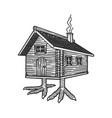 hut on chicken legs sketch vector image vector image