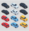 isometric 3d cars set isolated on transparent vector image vector image
