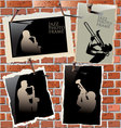 jazz - photo frames on brick wall vector image vector image