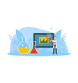 male scientist character standing near big device vector image vector image