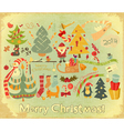 merry christmas card with santa claus vector image