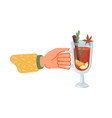 mulled wine served in glass cup hot beverages vector image