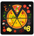 pizza ingredients - top view of pizza with vector image
