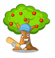 playing baseball apple orchard with basket of vector image