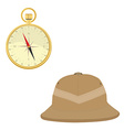 Safari hat and compass vector image vector image