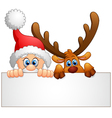 santa and deer holding blank sign vector image vector image