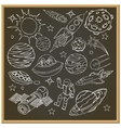 School chalk board with outer space doodles vector image