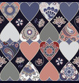 seamless floral patchwork pattern with hearts vector image