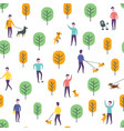 seamless park pattern dog walking people vector image