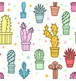Seamless pattern of green cacti and plants