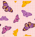 seamless pattern with bright retro butterflies vector image vector image