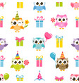 seamless pattern with colorful owls and gifts vector image