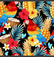 seamless pattern with macaw and fruits vector image