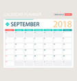 september 2018 calendar or vector image vector image