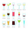 set color drinks in stemware vector image