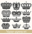 set of hand drawn crowns in vintage style vector image vector image