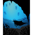 Silhouette underwater scene with stingray vector image vector image