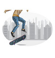 skateboarder performing trick vector image