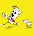 Square guy being chased by a dog vector image vector image
