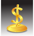 Symbol of Gold dollar on stand vector image vector image