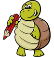 turtle with pencil cartoon vector image vector image