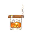 whiskey or rum glass sketch icon vector image vector image