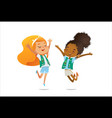 young smiling girls scout dressed in uniform with vector image