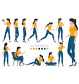 young woman character gestures and poses vector image