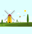 landscape with windmill and trees on field vector image
