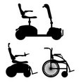 wheelchair for disabled people black outline vector image