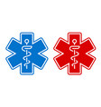 a medical star symbol in two color variations vector image