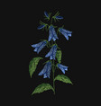 bellflower embroidered with blue and green threads vector image