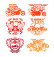 bright motorcycle labels motorbike retro badges vector image
