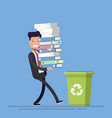 businessman or manager throws paper documents into vector image vector image