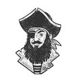 cartoon pirate sketch vector image vector image