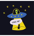 colorful cartoon sketch style print- spaceship ufo vector image