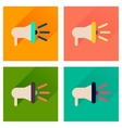 Concept of flat icons with long shadow loudspeaker vector image vector image