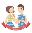 couple with ice cream of vector image